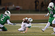 Marshall Thundering Herd quarterback Chase Litton (1) dives for a first down against the North Texas Mean Green during the 1st half at Apogee Stadium in Denton, Texas on October 8, 2016. (Cooper Neill for The Herald-Dispatch)