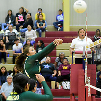 Photo: Jeffery Jones<br /> Thoreau Lady Hawk Jalena Begay (4) hits the ball over the net Tuesday night while playing an away game at Rehoboth Christian High School in Gallup.