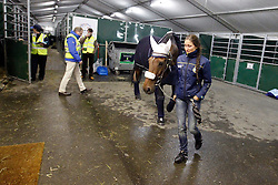 Minna Telden and Larina Höm <br /> Departure of the horses from Liege Airport to Lexington<br /> Alltech FEI World Equestrian Games - Kentucky 2010<br /> © Dirk Caremans