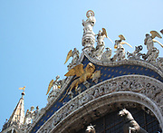 Four statues of Horses on the balcony of the Cathedral Basilica of Saint Mark is the cathedral church of the Roman Catholic Archdiocese of Venice, northern Italy. It is the most famous of the city's churches and one of the best known examples of Byzantine architecture