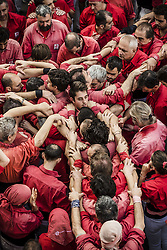 November 20, 2016 - Barcelona, Catalonia, Spain - The 'Castellers de Barcelona' organize the base of a human tower during a 'diada castellera' at Barcelona's Gracia quarter (Credit Image: © Matthias Oesterle via ZUMA Wire)