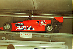 Indianapolis Time Trials, May 1987<br /> STP Go Cart in garage of Roberto Guerrero<br /> <br /> A scan from an old photo or slide from the collection of Alan and Becky Look dated 1987 and 1988.