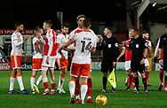 Players shake hands at full time during the EFL Sky Bet League 1 match between Fleetwood Town and Blackpool at the Highbury Stadium, Fleetwood, England on 25 November 2017. Photo by Paul Thompson.
