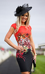 LIVERPOOL, ENGLAND - Friday, April 4, 2014: Andrea Bennett of Crosby wearing a Roberto Cavalli dress during Ladies' Day on Day Two of the Aintree Grand National Festival at Aintree Racecourse. (Pic by David Rawcliffe/Propaganda)