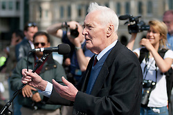 © Under licence to London News Pictures. 14/03/14 Tony Benn has died aged 88. FILE PICTURE: UK  01/05/11. Labour politician Tony Benn waits addresses several thousand people taking part in a Mayday demonstration in central London. Please see special instructions for usage rates. Photo credit should read Matt Cetti-Roberts/LNP