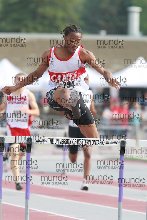 (London, Ontario}---05 June 2010) Lesean Ebanks of Heart Lake - Brampton competing in the 300m / 400m hurdles at the 2010 OFSAA Ontario High School Track and Field Championships in London, Ontario, June 05, 2010 . Photograph copyright Dave Chidley / Mundo Sport Images, 2010.