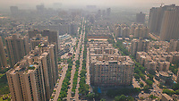 Aerial view of a urban street in Indrapuram, Ghaziabad, Delhi Ncr, India.