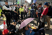 Climate protesters and Police at Oxford Circus, with hands glued together. In an operation that took several hours, Police removed the pink boat named Berta Caceres after the Hondruan nun who was murdered for being an environmental activist, that was the centrepiece of Extinction Rebellions site. It involved people who were locked on being removed. Several roads were blocked across four sites in central London, by the Extinction Rebellion climate change protests, April 2019.