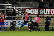 Jordan Rose of Whitehawk (c) celebrates as he scores his teams 1st goal of the match to make it 1-1. The Emirates FA Cup, 2nd round match, Dagenham & Redbridge v Whitehawk FC at the The London Borough of Barking & Dagenham Stadium in London on Sunday 6th December 2015.<br /> pic by John Patrick Fletcher, Andrew Orchard sports photography.