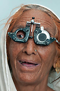 India, Bihar. Mastichak. Akhand Jyoti Eye Hospital. A deaf patient with cataracts is tested before her operation.