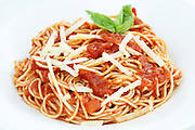 plate of linguine with marinara sauce and cheese