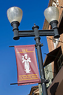 Sidewalk Streetlanps and banners in downtown Paso Robles, San Luis Obispo County, California