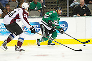 DALLAS, TX - NOVEMBER 1:  Trevor Daley #6 of the Dallas Stars controls the puck against the Colorado Avalanche on November 1, 2013 at the American Airlines Center in Dallas, Texas.  (Photo by Cooper Neill/Getty Images) *** Local Caption *** Trevor Daley