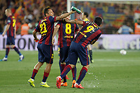 Barcelona´s players celebrate their victory at the  2014-15 Copa del Rey final match between Barcelona and Athletic de Bilbao at Camp Nou stadium in Barcelona, Spain. May 30, 2015. (ALTERPHOTOS/Victor Blanco)