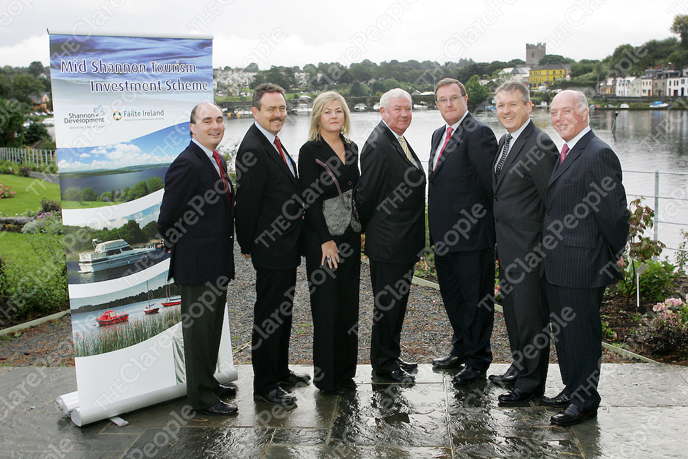 ***WITH COMPLIMENTS***<br /> Mid Shannon Tourism Investment Sheme Board pleased with level of interest.<br /> <br /> The new Mid Shannon Toursim Board, appointed by the Taoiseach, met in the Shannon Region for the first time on Tuesday 2nd September 2008 at the lakeside Hotel in Ballina /Killaloe, Co. Clare and expressed their satisfaction with the level of interest shown by potential developers in the scheme. Launched by An Taoiseach, Mr. Brian Cowen TD, on the 27th June 087, the new tax relief scheme offers a unique opportunity for tax-incentized investment in a range of tourism products in areas adjacent to the middle and lower reach of the River Shannon.<br /> PIctured L-R were John Crowe (Project manager, mid-shannon tourism investment scheme), John King (Shannon Development), Joan Reynolds (Shannon Development), Tom Hyland (Chairman), Frank Hussey (Dublin based financier), Paul Keeley (Failte Ireland) & Kevin Kidney (Secretary of the board)<br /> <br /> Pic. Emma Jervis/ Press 22