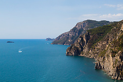 Positano, Italy, September 16 2017. A view over the Mediterranean from the road to Positano, Italy. © Paul Davey