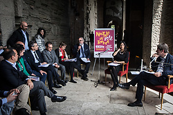 April 18, 2018 - Rome, Italy, Italy - Press Conference of the Mayor Virginia Raggi, together with the Deputy Mayor with responsibility for Cultural Growth Luca Bergamo present the initiatives promoted by Roma Capitale for 2771 th Christmas in Rome. on April 18, 2018 in Rome, Italy  (Credit Image: © Andrea Ronchini/NurPhoto via ZUMA Press)