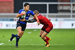 Rikiya Matsuda of Japan evades the tackle of Daniil Potikhanov of Russia <br /> <br /> Photographer Craig Thomas<br /> <br /> Japan v Russia<br /> <br /> World Copyright ©  2018 Replay images. All rights reserved. 15 Foundry Road, Risca, Newport, NP11 6AL - Tel: +44 (0) 7557115724 - craig@replayimages.co.uk - www.replayimages.co.uk