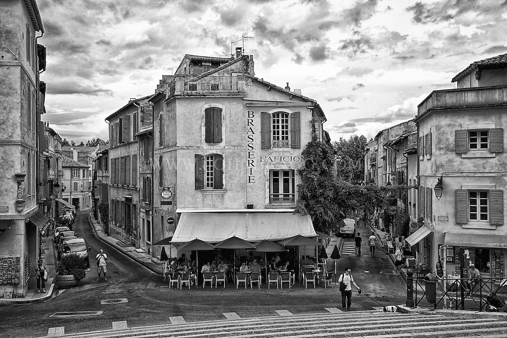 Black and white view of the Forum Square, Arles, France.