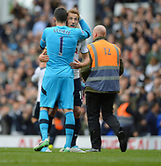 Tottenham Hotspur goalkeeper Hugo Lloris Celebrates at the end of the match with team mate Harry Kane of Tottenham Hotspur. English Premier League match at the White Hart Lane Stadium, London. Picture date: April 30th, 2017.Pic credit should read: Robin Parker/Sportimage