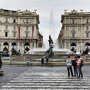 The Piazza della Repubblica in the Trastevere neighborhood located near the train station.