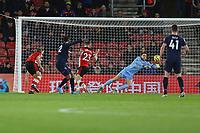 Football - 2019 / 2020 Premier League - Southampton vs. West Ham United<br /> <br /> Sebastien Haller of West Ham United fires past Southampton's Alex McCarthy to put West Ham one up at St Mary's Stadium Southampton<br /> <br /> COLORSPORT/SHAUN BOGGUST
