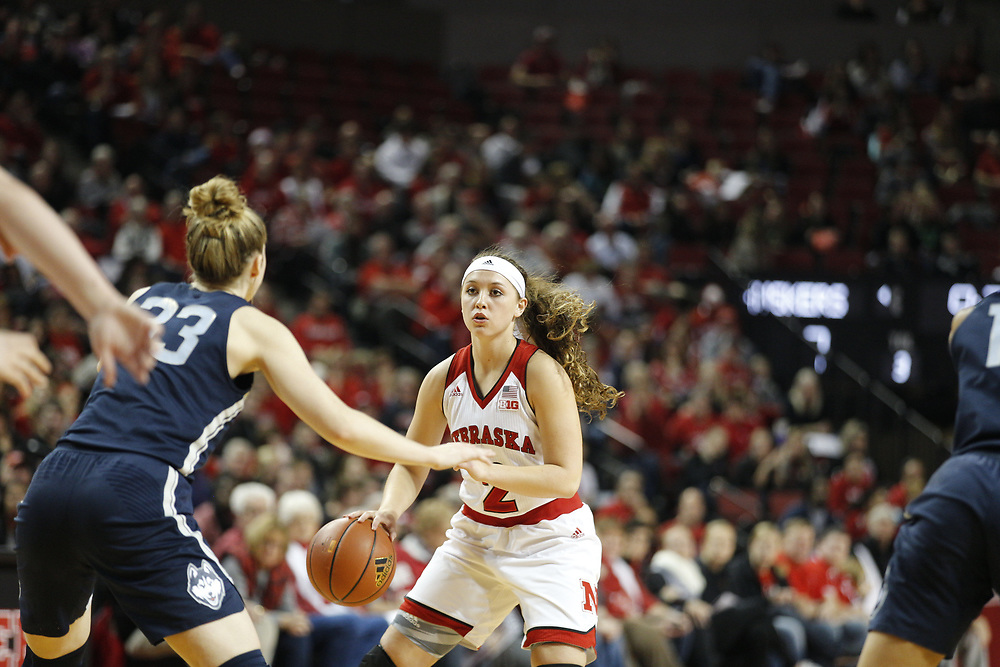 Nebraska Cornhuskers guard Rylie Cascio Jensen #2 looks to pass during Nebraska's 84-41 loss to No. 1-ranked UConn at Pinnacle Bank Arena in Lincoln, Neb. on Dec. 21, 2016. Photo by Aaron Babcock, Hail Varsity