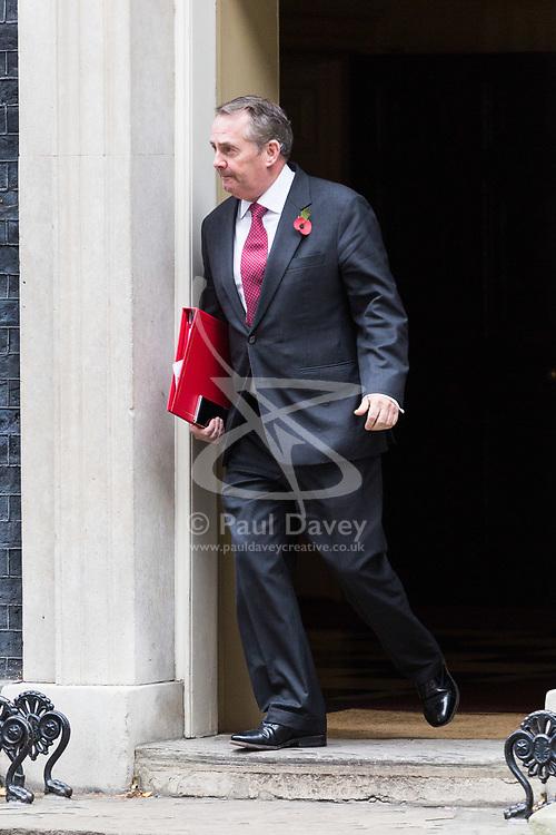 London, October 31 2017. International Trade Secretary Liam Fox leaves the weekly UK cabinet meeting at Downing Street. © Paul Davey