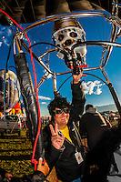 The Brazilian pilot of a special shape balloon called Aaron (Elvis' middle name) at the Albuquerque International Balloon Fiesta, Albuquerque, New Mexico USA