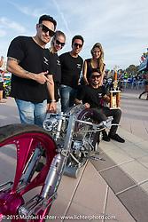 "The Tarso Marque ""team"" from Brazil with their award for their Harley-Davidson Steam Punk entry in the Boardwalk Classic Bike Show during Daytona Beach Bike Week. Daytona Beach, FL, USA. March 13, 2015.  Photography ©2015 Michael Lichter."