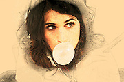 Digitally enhanced image of a young woman blows a bubble with pink bubble gum