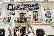 Confetti rains down as performers take the stage after Charleston Mayor Joseph P. Riley opens the Spoleto Festival USA, a 17-day performing arts festival May 22, 2015 in Charleston, South Carolina. Riley opened the festival for the last time as Mayor as he will retire at the end of the year after 39-years.