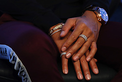 November 7, 2018 - Sao Paulo, Sao Paulo, Brazil - Sao Paulo, Sao Paulo, Brazil - Nov, 2018 - Detail of hands and jewelry used by pilot LEWIS HAMILTON a five-time Formula One world champion by the Mercedes-AMG Petronas Motorsports team during a press conference launching the new line of lubricants from his team's sponsor Petronas Lubrificants International.  Sao Paulo, Brazil, November 7, 2018. (Credit Image: © Marcelo Chello/ZUMA Wire)