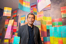 """© Licensed to London News Pictures. 15/09/2021. Birmingham, UK. Mit Jai Inn Art. The first major solo exhibition in Europe by artist Mit Jai Inn (b.1960, Chiang Mai) opens today at the Ikon Gallery in Birmingham. A leading figure of contemporary art in Thailand, Mit is known for his colourful artworks that merge painting and sculpture. Dreamworld features recent and new works made for Ikon which embody his vision of art """"as a utopian dream within everyday life"""" and collective hopes for a brighter future.<br /> """"When I paint, it's not only with my eyes, but with all of my senses: touch, smell, movement. The whole entity."""""""