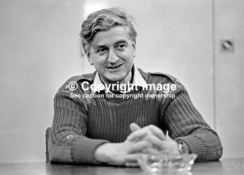 Major George Styles, Royal Army Ordnance Corps, who has been awarded George Cross for bravery in defusing two bombs planted in the Europa Hotel, Belfast, N Ireland, UK, in October 1971. 1972010014<br /> <br /> Copyright Image from Victor Patterson, Belfast, UK<br /> <br /> t: +44 28 9066 1296 (from Rep of Ireland 048 9066 1296)<br /> m: +44 7802 353836<br /> e: victorpattersonbelfast@gmail.com<br /> <br /> www.images4media.com<br /> <br /> Please see my full Terms and Conditions of Use at https://www.images4media.com/p/terms-conditions - it is IMPORTANT that you familiarise yourself with them.<br /> <br /> Images used online incur an additional cost. This cost should be agreed in writing in advance. Online images must be visibly watermarked i.e. © Victor Patterson or that of the named photographer within the body of the image. The original metadata must not be deleted from images used online.<br /> <br /> This image is only available for the use of the download recipient i.e. television station, newspaper, magazine, book publisher, etc, and must not be passed on to a third party. It is also downloaded on condition that each and every usage is notified within 7 days to victorpattersonbelfast@gmail.com.