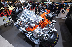 Volvo hybrid electric powertrain on display at 87th Geneva International Motor Show in Geneva Switzerland 2017