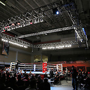 """The ring during the """"Boxeo Telemundo"""" boxing match at the Kissimmee Civic Center on Friday, March 14, 2014 in Kissimmme, Florida. (Photo/Alex Menendez)"""