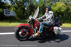 Canadian John Phillips riding his 1947 Harley-Davidson EL Knucklehead in the Cross Country Chase motorcycle endurance run from Sault Sainte Marie, MI to Key West, FL. (for vintage bikes from 1930-1948). 287 mile ride of Stage-8 from Tallahassee to Lakeland, FL USA. Friday, September 13, 2019. Photography ©2019 Michael Lichter.