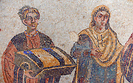 The so called Domina of the Villa, probably Eutropia the wife of Emperor Maximinianus, accompanied by her children from the Trapedoizal Vestibule room no 16. Roman mosaics at the Villa Romana del Casale which containis the richest, largest and most complex collection of Roman mosaics in the world. Constructed  in the first quarter of the 4th century AD. Sicily, Italy. A UNESCO World Heritage Site. .<br /> <br /> If you prefer to buy from our ALAMY PHOTO LIBRARY  Collection visit : https://www.alamy.com/portfolio/paul-williams-funkystock/villaromanadelcasale.html<br /> Visit our ROMAN MOSAIC PHOTO COLLECTIONS for more photos to buy as buy as wall art prints https://funkystock.photoshelter.com/gallery/Roman-Mosaics-Roman-Mosaic-Pictures-Photos-and-Images-Fotos/G00008dLtP71H_yc/C0000q_tZnliJD08