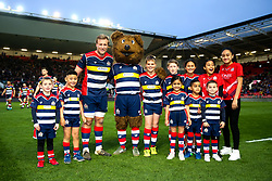 Jordan Crane (co-capt) of Bristol Rugby with the mascots - Rogan/JMP - 13/04/2018 - RUGBY UNION - Ashton Gate Stadium - Bristol, England - Bristol Rugby v Doncaster Knights - Greene King IPA Championship.