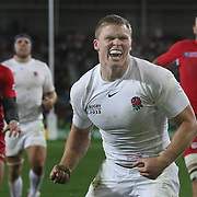 Chris Ashton, England, celebrates after scoring a try during the England V Georgia Pool B match at the IRB Rugby World Cup tournament. Otago Stadium, Dunedin New Zealand, 18th September 2011. Photo Tim Clayton..