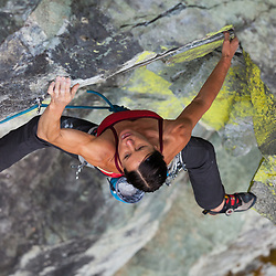 Ines Papert leading Fish Ladder, 5.11b at Paradise Valley in Squamish, BC during the Arcteryx Photo Shootout.