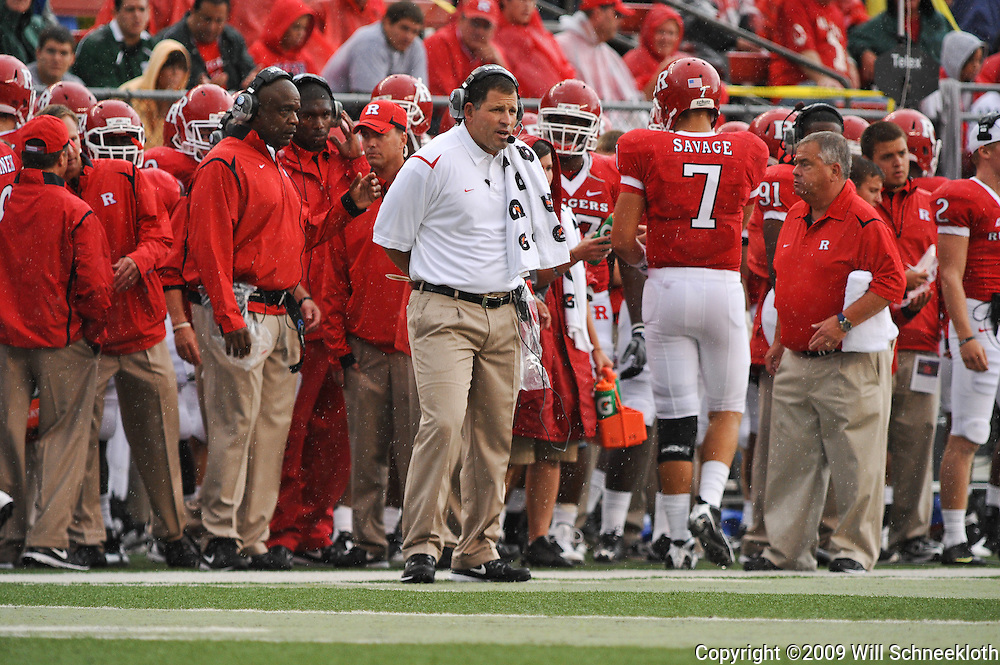 Sep 12, 2009; Piscataway, NJ, USA;  Rutgers head coach Greg Schiano looks on during the first half of Rutgers' 45-7 victory over Howard in NCAA College Football at Rutgers Stadium.