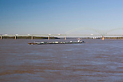 Memphis Tennessee TN, USA, A barge on the Mississippi river