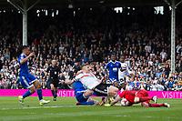 Brentford's Daniel Bentley saves from the rebound shot of Fulham's Tom Cairney just after also saving his penalty          <br /> <br /> <br /> Photographer Craig Mercer/CameraSport<br /> <br /> The EFL Sky Bet Championship - Fulham v Brentford  - Saturday 29th April 2017 - Craven Cottage - London <br /> <br /> World Copyright © 2017 CameraSport. All rights reserved. 43 Linden Ave. Countesthorpe. Leicester. England. LE8 5PG - Tel: +44 (0) 116 277 4147 - admin@camerasport.com - www.camerasport.com