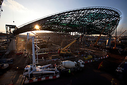 Aquatics Centre. Evening view of construction on the Aquatics centre. Picture taken on 28 Oct 09 by David Poultney.