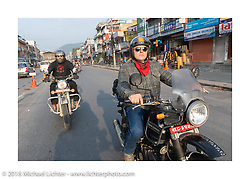 Beanre (Kevin Doebler) and Danny Ochs on day-9 of our Himalayan Heroes adventure riding from Pokhara to Nuwakot, Nepal. Wednesday, November 14, 2018. Photography ©2018 Michael Lichter.