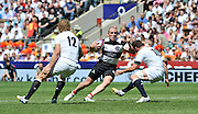 """Twickenham; GREAT BRITAIN;  Baa Baa's. Mike TINDALL, faced by left Billy TWELVETREE and right Freddie BURNS, during the  England vs Barbarians [Baa Baa's],  at Twickenham Stadium; Surrey on, Sunday  26/05/2013   [Mandatory Credit; """"Photo, Peter Spurrier/Intersport-images]"""