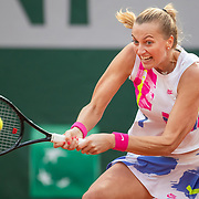 PARIS, FRANCE October 08.  Petra Kvitova of the Czech Republic in action against Sofia Kenin of the United States  in the Semi Finals of the singles competition on Court Philippe-Chatrier during the French Open Tennis Tournament at Roland Garros on October 8th 2020 in Paris, France. (Photo by Tim Clayton/Corbis via Getty Images)