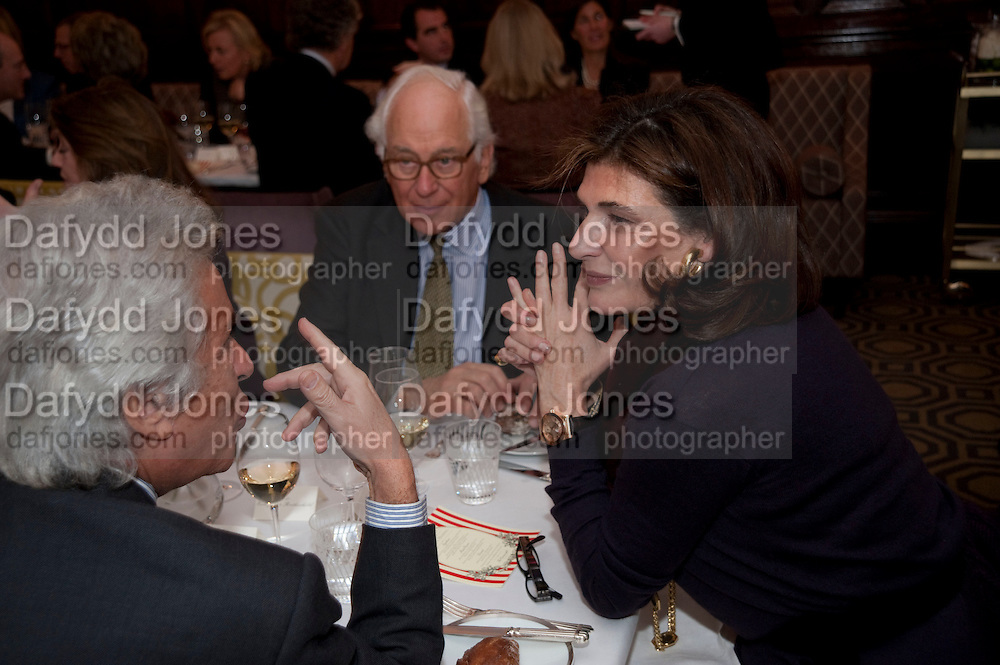 GIANCARLO GIAMETTI; SIR EVELYN DE ROTHSCHILD; MARINA PALMA, Graydon and Anna Carter host a lunch for Carolina Herrera to celebrate the ipening of her new shop on Mount St. .The Connaught. London. 20 January 2010